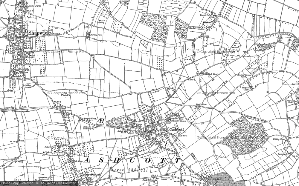 Old Map of Ashcott, 1885 in 1885