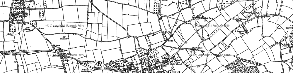 Old map of Ashcott in 1885