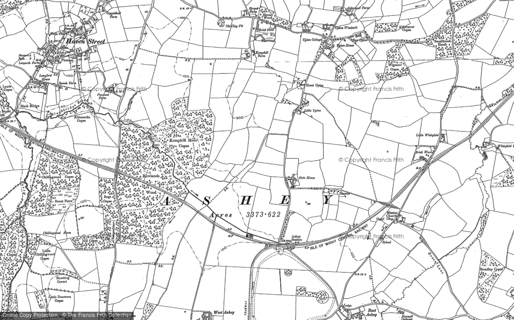 Old Map of Historic Map covering Ashey Down in 1896