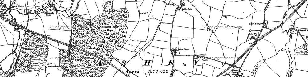 Old map of Ashey Down in 1896