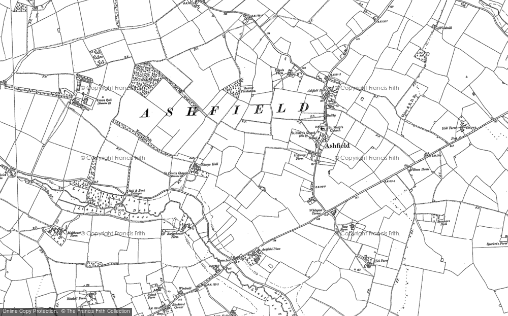 Old Map of Historic Map covering Ashfield Cum Thorpe in 1883