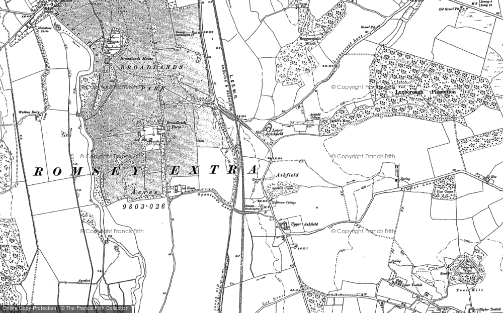 Old Map of Historic Map covering Toothill in 1895