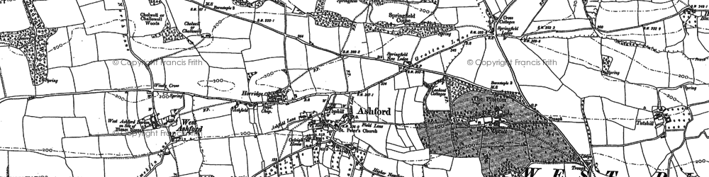 Old map of Ashford in 1886