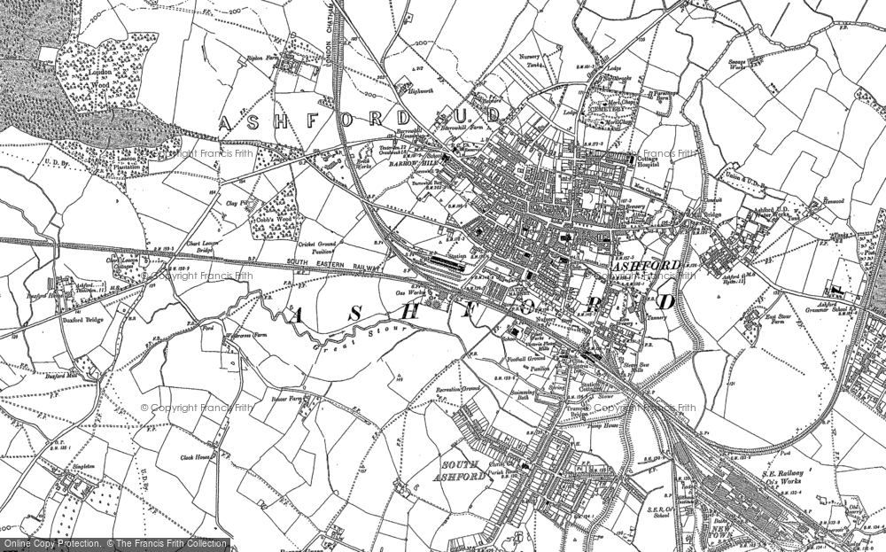 Old Map of Ashford, 1896 in 1896