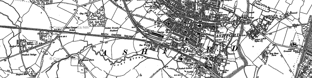 Old map of Ashford in 1896