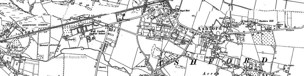Old map of Ashford in 1912