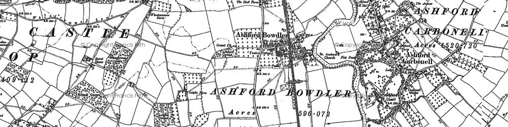 Old map of Ashford Bowdler in 1884