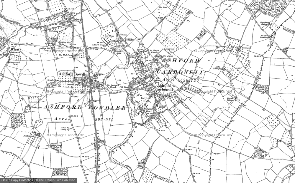 Old Map of Historic Map covering Ashford Manor in 1884