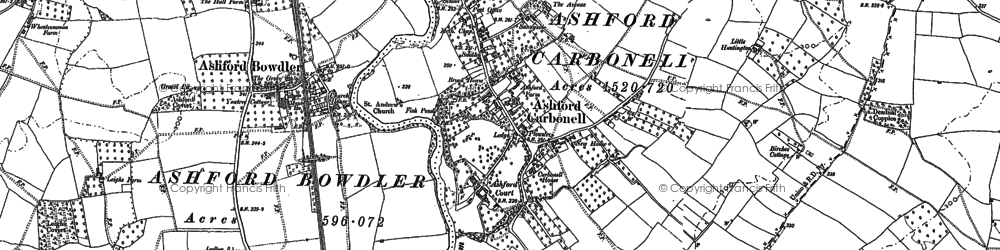 Old map of Ashford Court in 1884