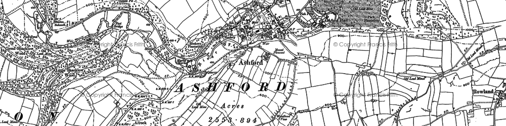 Old map of Ashford in the Water in 1878