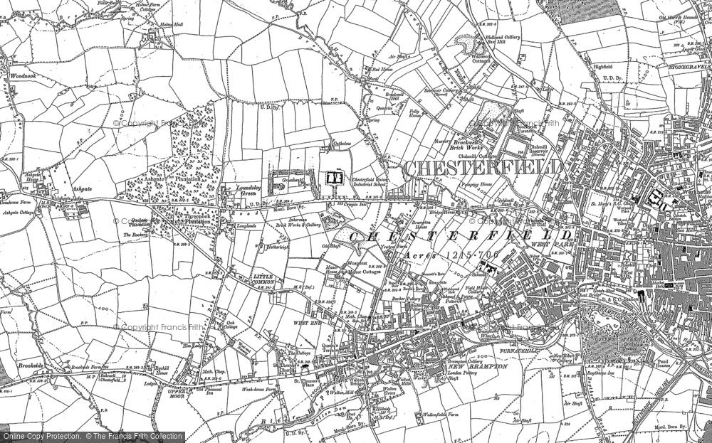 Old Map of Historic Map covering Woodnook in 1876