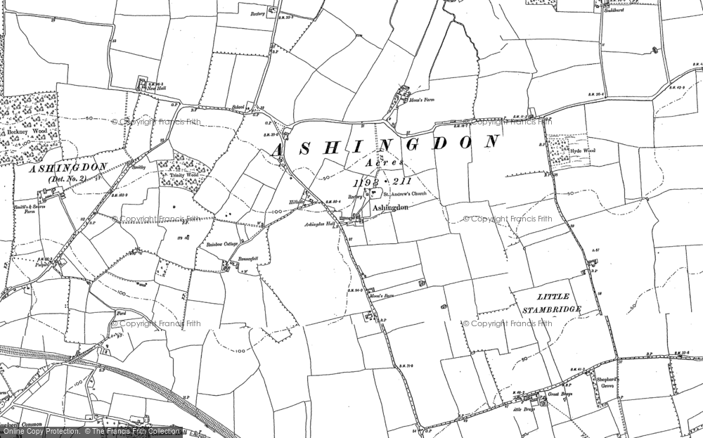 Old Map of Ashingdon, 1895 in 1895