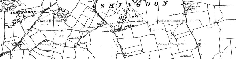 Old map of Ashingdon in 1895