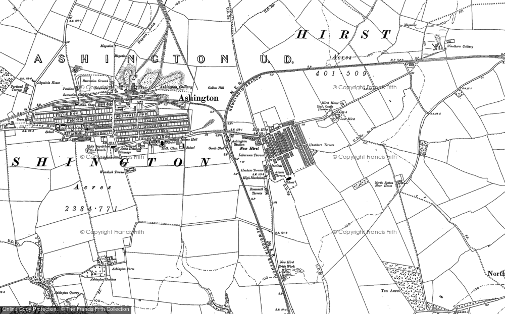 Old Map of Ashington, 1896 in 1896