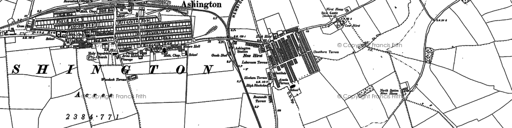 Old map of Ashington in 1896