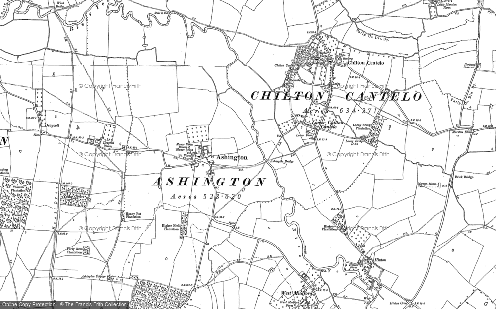 Old Map of Historic Map covering Ashington Wood in 1901