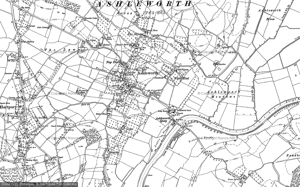Old Map of Ashleworth, 1883 in 1883