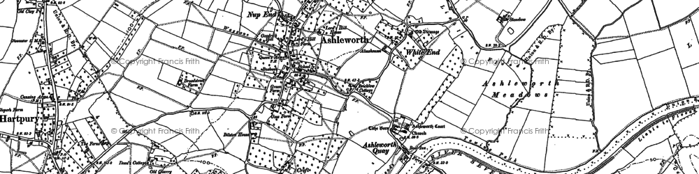 Old map of Ashleworth Quay in 1883