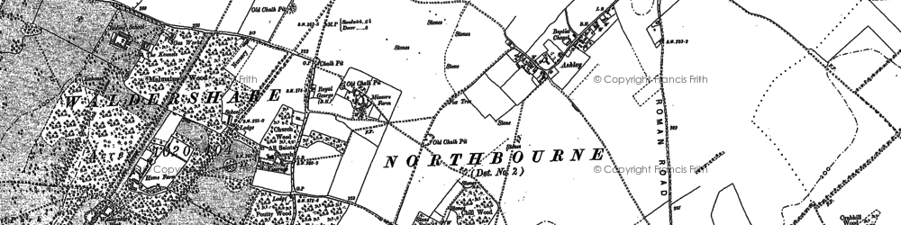 Old map of Ashley in 1872