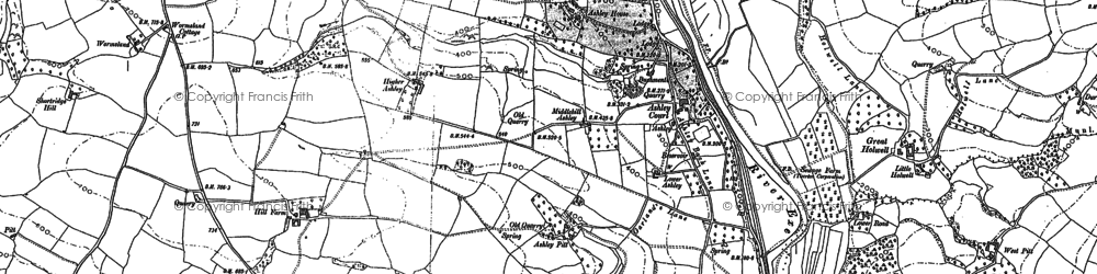 Old map of Backs Wood in 1886