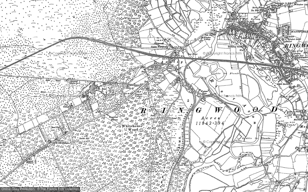Old Map of Historic Map covering Avon Valley Path in 1908