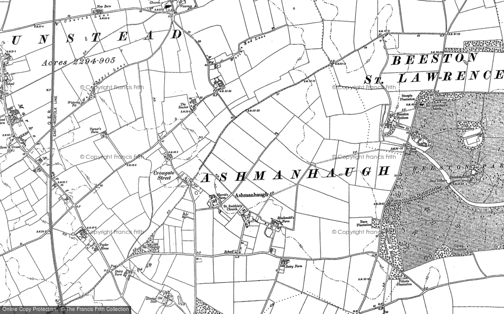 Old Map of Historic Map covering Wroxham Barns Craft Centre in 1880