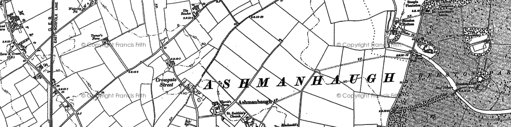 Old map of Wroxham Barns Craft Centre in 1880