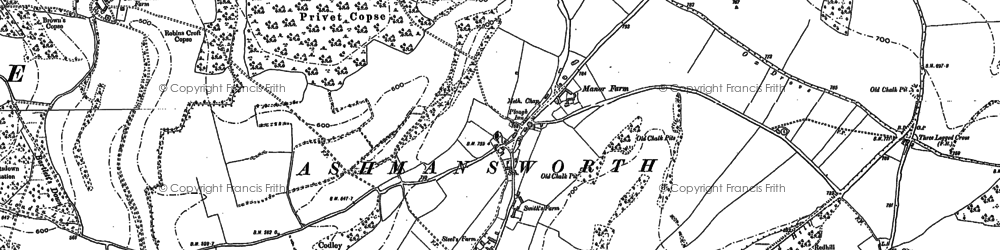 Old map of Ashmansworth in 1909
