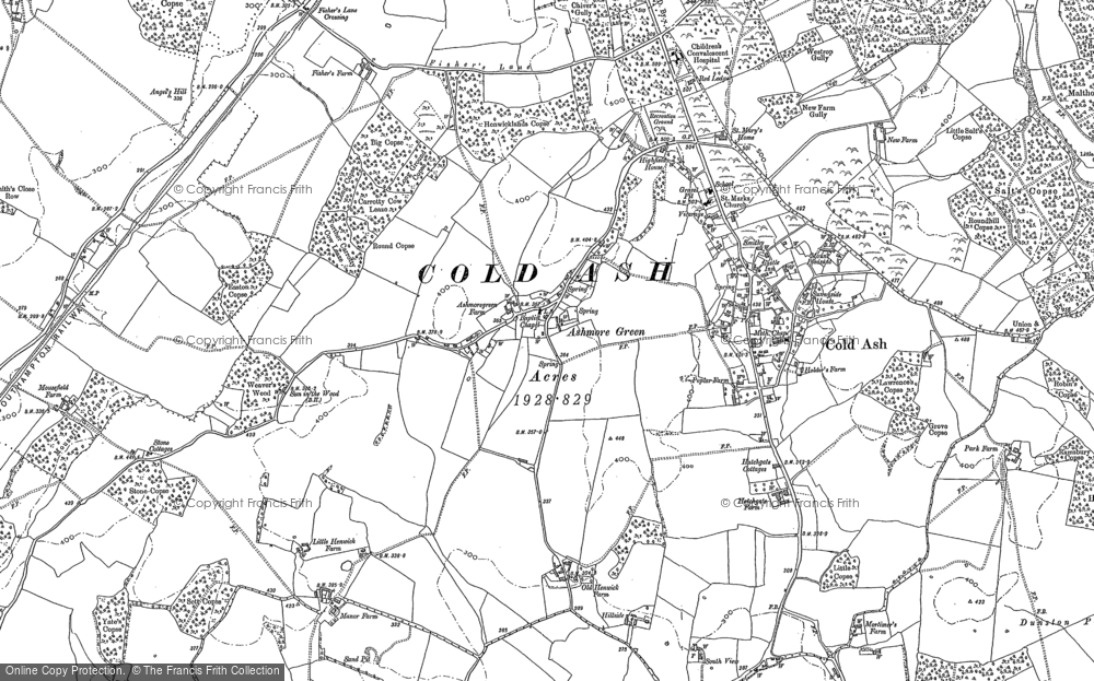 Old Map of Ashmore Green, 1898 in 1898