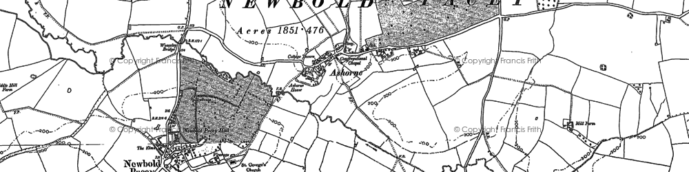 Old map of Ashorne in 1885