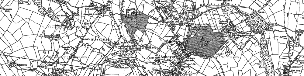 Old map of Ashover in 1879