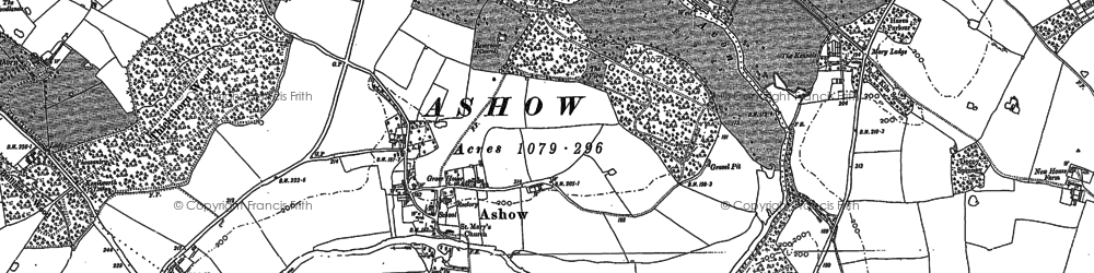 Old map of Ashow in 1886