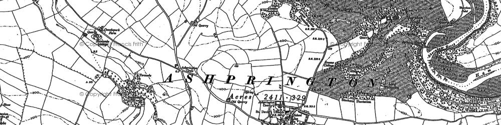 Old map of Ashprington in 1886