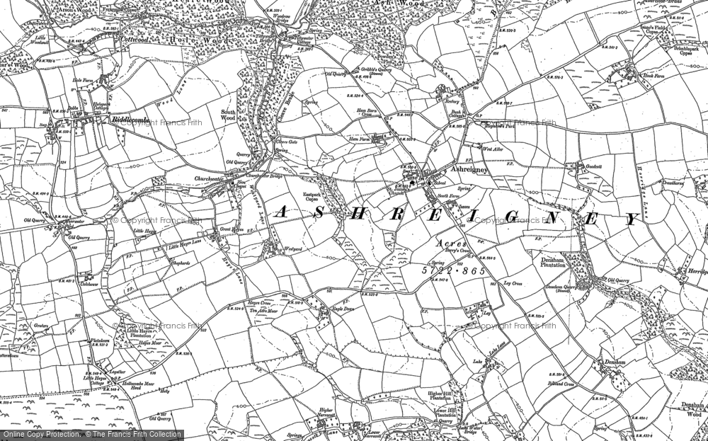 Old Map of Ashreigney, 1885 - 1887 in 1885