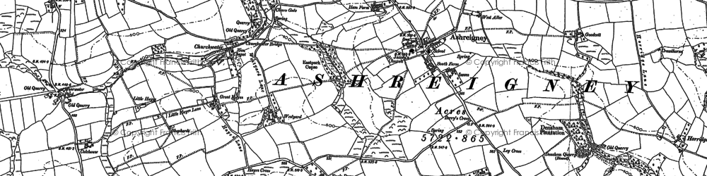 Old map of Ashreigney in 1885