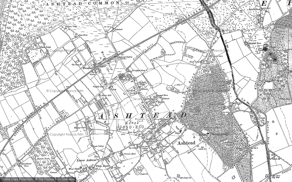 Old Map of Historic Map covering Ashtead Common in 1894