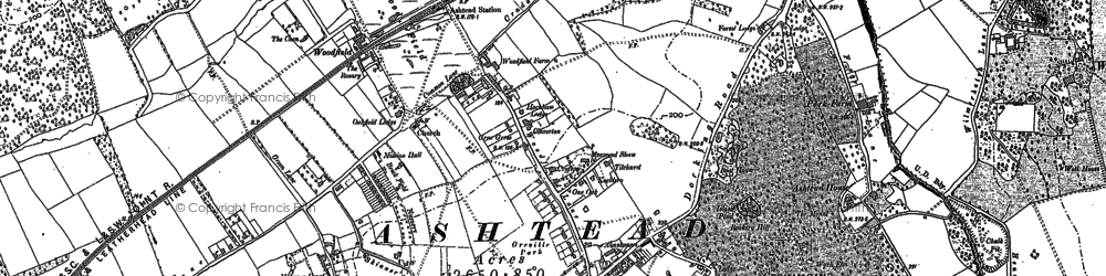 Old map of Ashtead Park in 1894