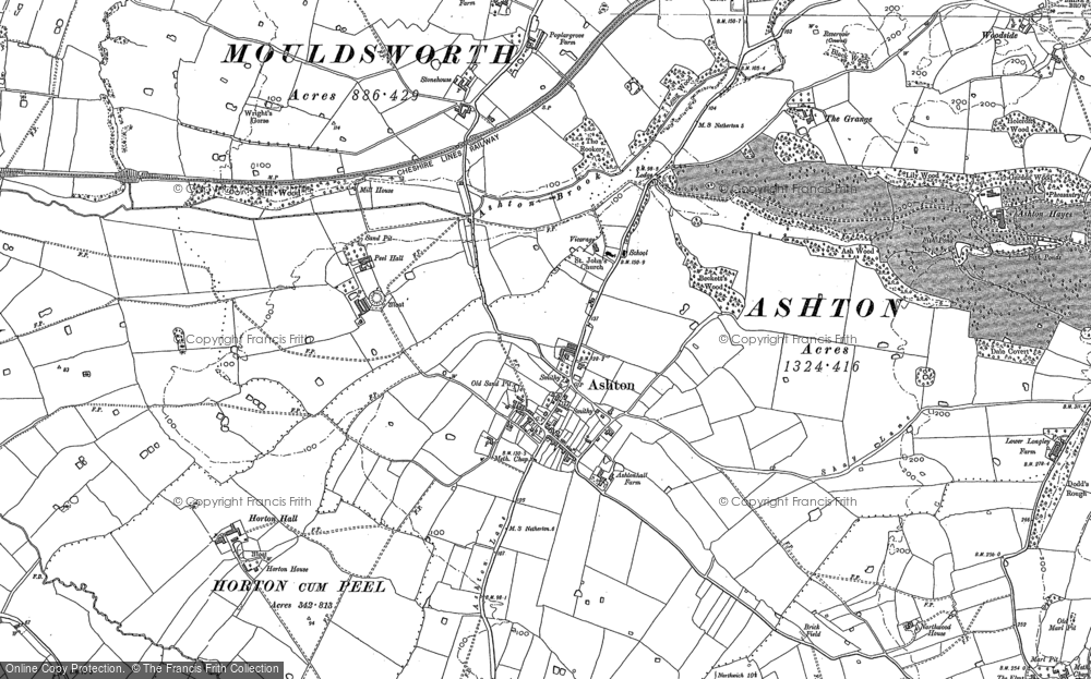 Old Map of Historic Map covering Ashton Hayes in 1897