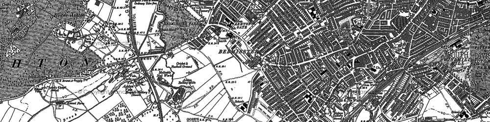 Old map of Ashton Gate in 1902