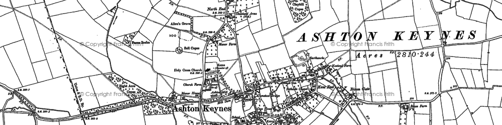 Old map of Ashton Keynes in 1920