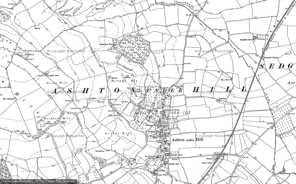 Old Map of Ashton under Hill, 1883 - 1884 in 1883