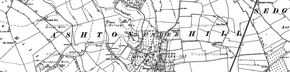 Old map of Ashton under Hill in 1883