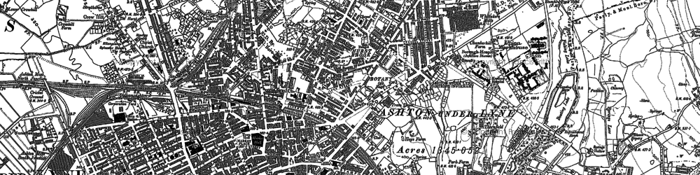 Old map of Ashton-Under-Lyne in 1907