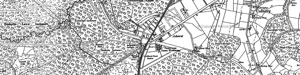 Old map of Ashurst (New Forest) Station in 1895