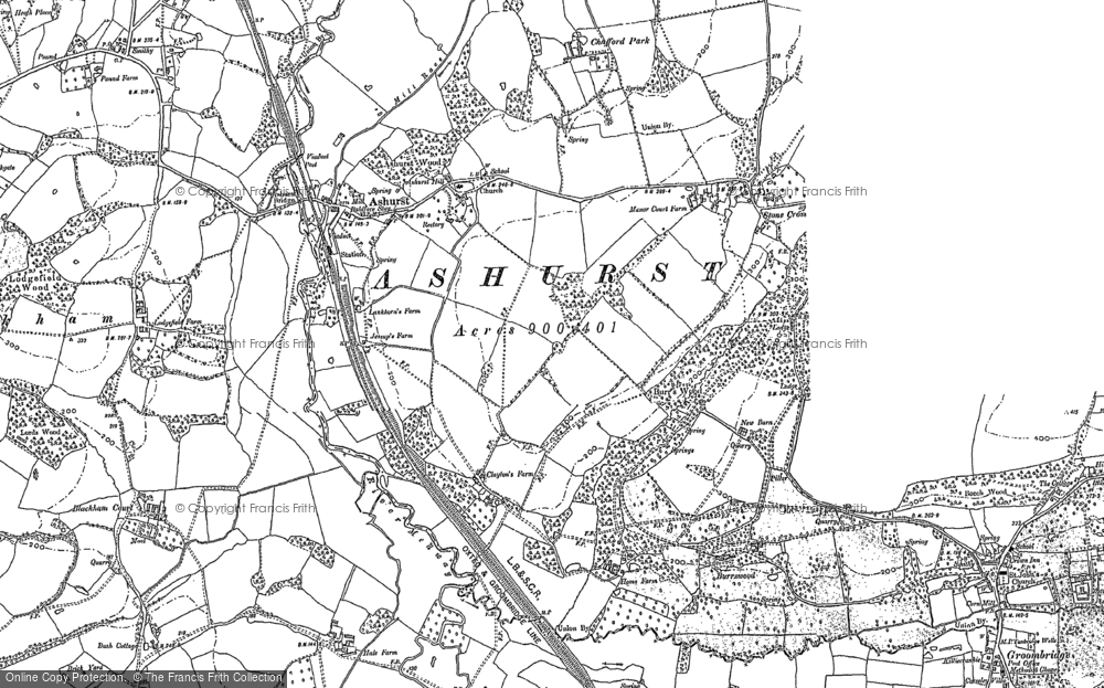 Old Map of Ashurst, 1907 in 1907