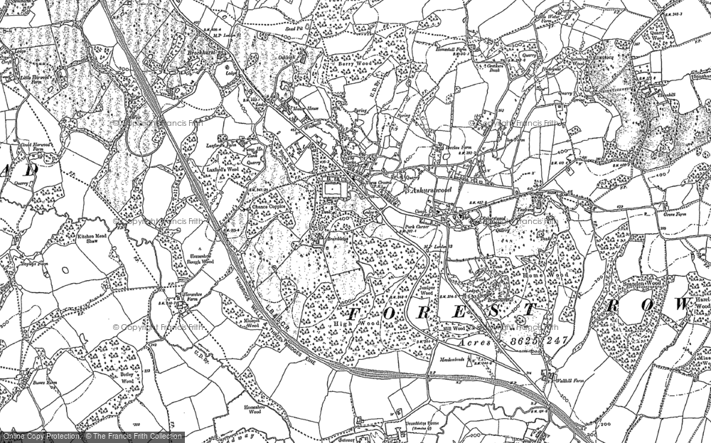 Old Map of Ashurst Wood, 1908 in 1908