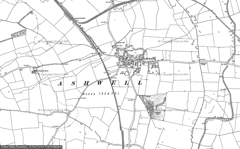 Old Map of Historic Map covering Ashwell Court in 1884
