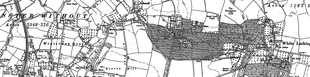 Old map of Ashwell in 1886