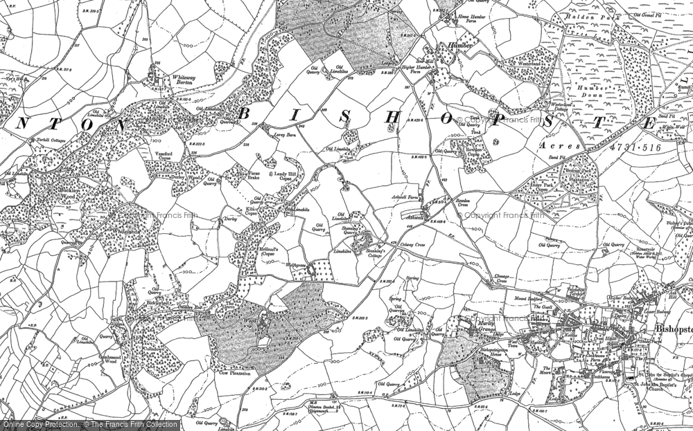 Old Map of Historic Map covering Lindridge Park in 1887