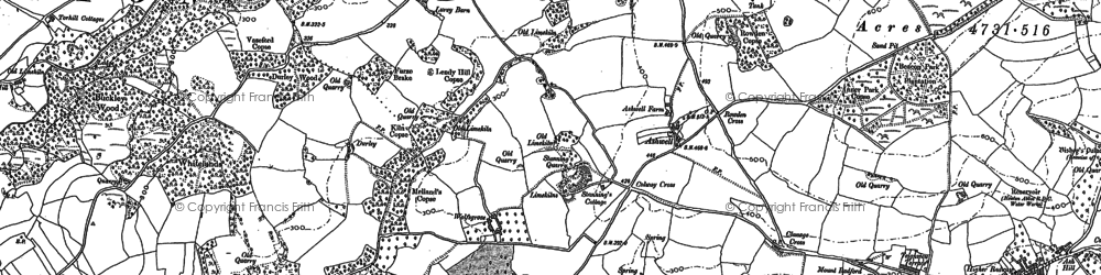 Old map of Whiteway Barton in 1887